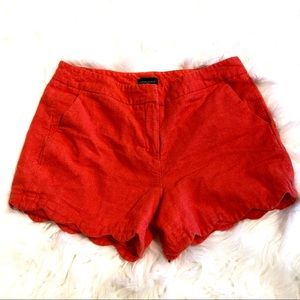 Cynthia Rowley Orange Linen Scallop Shorts Size 10